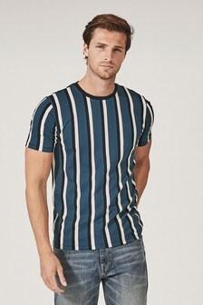 Mid Blue Vertical Stripe Slim Fit T-Shirt