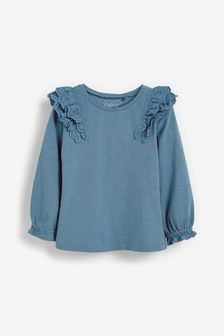 Blue Broderie Frill Blouse (3mths-7yrs)