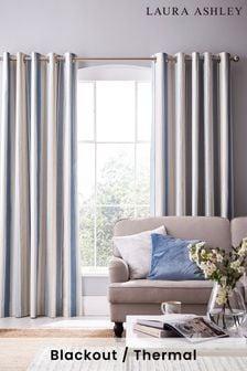 Laura Ashley Awning Stripe Eyelet Curtains