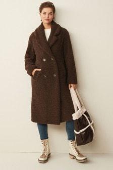 Brown Longline Teddy Borg Coat