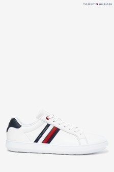Tommy Hilfiger White Essential Leather Global Stipe Trainers