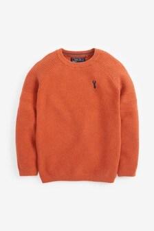 Orange Textured Crew Jumper (3-16yrs)