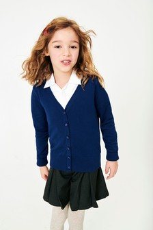Blue V-Neck Cardigan (3-16yrs)