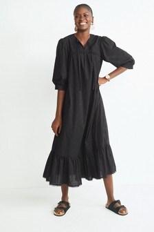 Black Broderie Kaftan Dress