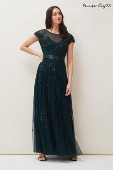 Phase Eight Green Renee Beaded Tulle Dress