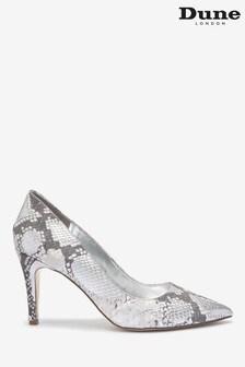 Dune London Silver Anna Leather Signature Heel Trim Shoes
