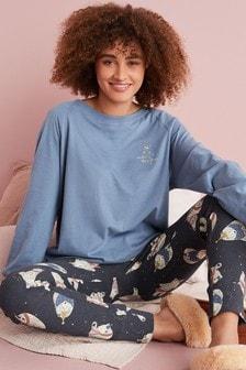 Navy Bears Cotton Blend Legging Pyjama Set