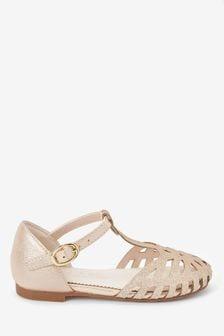 Gold Glitter T-Bar Occasion Sandals
