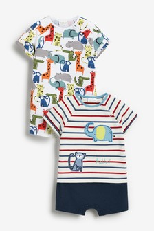 Multi 2 Pack Character Rompers (0mths-2yrs)