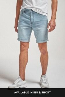 Light Blue Straight Fit Denim Shorts