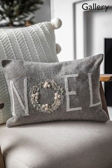 Gallery Direct Natural Noel Wreath Embroidered Cushion