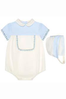 طقم ثوب أطفال قطن لون كريم للجنسين البيبي