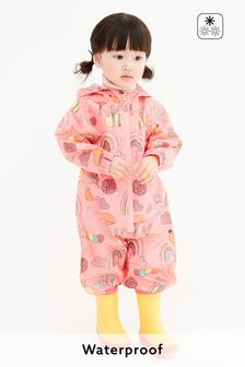 Coral Pink Character Print Shower Resistant Puddlesuit (3mths-7yrs)