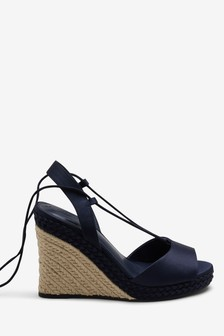 Navy Ankle Wrap Plaited Wedges