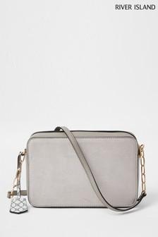 River Island Grey Padlock Boxy Bag