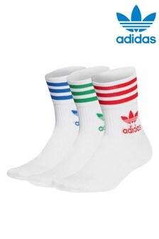 adidas Originals 3 Stripe Mid Cut Crew Socks