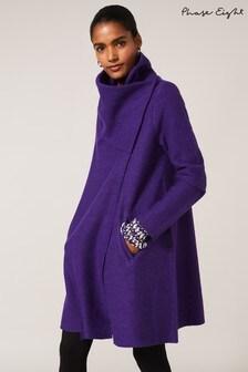 Phase Eight Purple Bellona Knit Coat