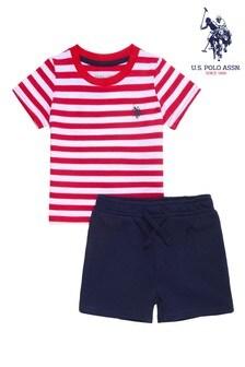 U.S. Polo Assn Red Breton Stripe T-Shirt And Shorts Set