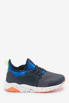 Blue Colourblock Elastic Lace Trainers (Older)
