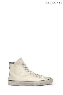 AllSaints White Osun High Top Lace Up Waxy Leather Trainers