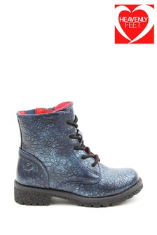 Heavenly Feet Blue Junior Girls Lace Ankle Boots