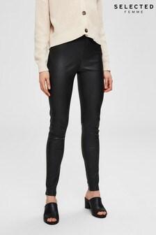 Selected Femme Black Leather Leggings