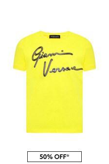 Versace Boys Yellow Cotton T-Shirt