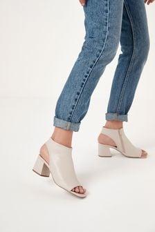 Bone Block Heel Slingback Shoe Boots
