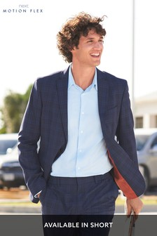 Bright Blue Jacket Check Motion Flex Slim Fit Suit