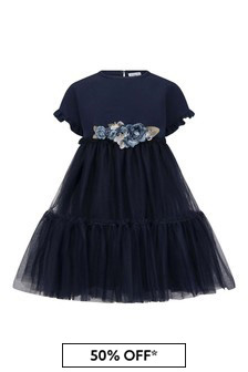 فستان تولأزرق داكن ورودبناتي