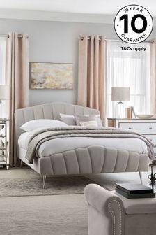 Opulent Velvet Light Grey Deco Bed