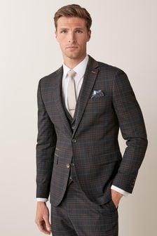 Slim Fit Check Suit: Jacket
