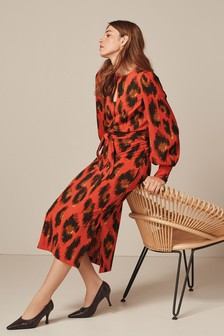 Red Animal Womens Long Sleeve Belted Dress