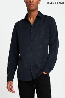 River Island Navy Floral Jacquard Shirt