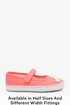 Fluro Pink Rainbow Standard Fit (F) Canvas Mary Jane Shoes (Younger)