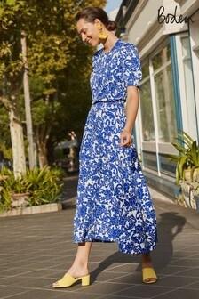 Boden Blue Sophia Smocked Midi Dress