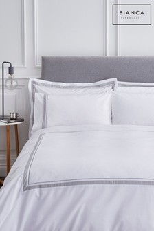Hepburn Border Cotton Duvet Cover and Pillowcase Set by Bianca