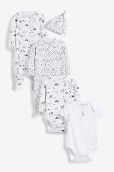 Grey/White Character 5 Piece Sleepsuits, Bodysuits & Hat Set (0-6mths)