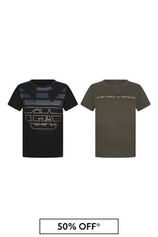 Boys Green Cotton T-Shirts Set