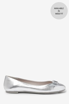Silver Hardware Bow Ballerina Shoes