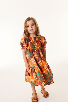 Orange Floral Shirred Maxi Dress (3mths-7yrs)
