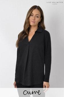 Live Unlimited Curve Black Cotton Slub Shirt