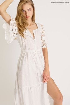 French Connection White Cecily Broderie Anglaise Tie Waist Dress
