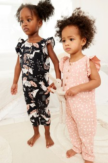 Caramel/Monochrome Character 2 Pack Rib Jersey Ruffle Shoulder All-In-One (9mths-8yrs)