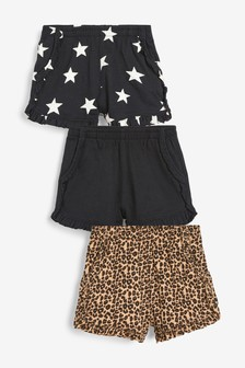Monochrome 3 Pack Animal/Star Print Shorts (3mths-6yrs)