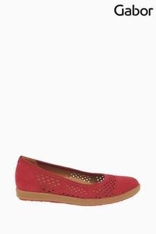 Gabor Red Pattie Rubin Soft Nubuck Casual Slip On Shoes