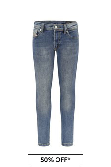 Diesel Boys Blue Cotton Jeans