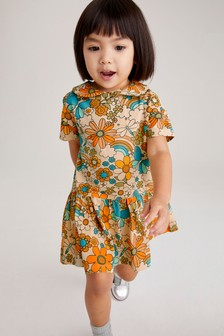 Ochre Retro floral GOTS Organic Jersey Dress (3mths-7yrs)