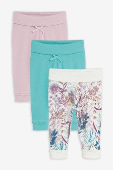 Lilac/Teal 3 Pack Floral Leggings (0mths-2yrs)