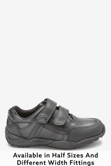 Black Wide Fit Leather Double Strap Shoes (Older)